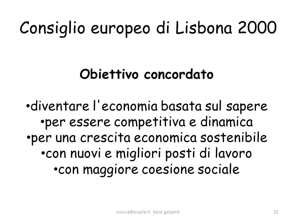 Consiglio europeo di Lisbona 2000 Obiettivo concordato diventare l economia basata sul sapere per essere competitiva e dinamica per una crescita economica sostenibile con nuovi e migliori posti di lavoro con maggiore coesione sociale 31www.adiscuola.it bassi galperti