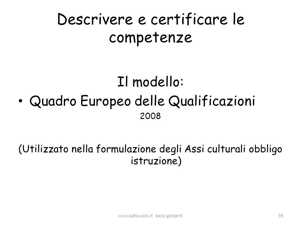 Descrivere e certificare le competenze Il modello: Quadro Europeo delle Qualificazioni 2008 (Utilizzato nella formulazione degli Assi culturali obbligo istruzione) 39www.adiscuola.it bassi galperti