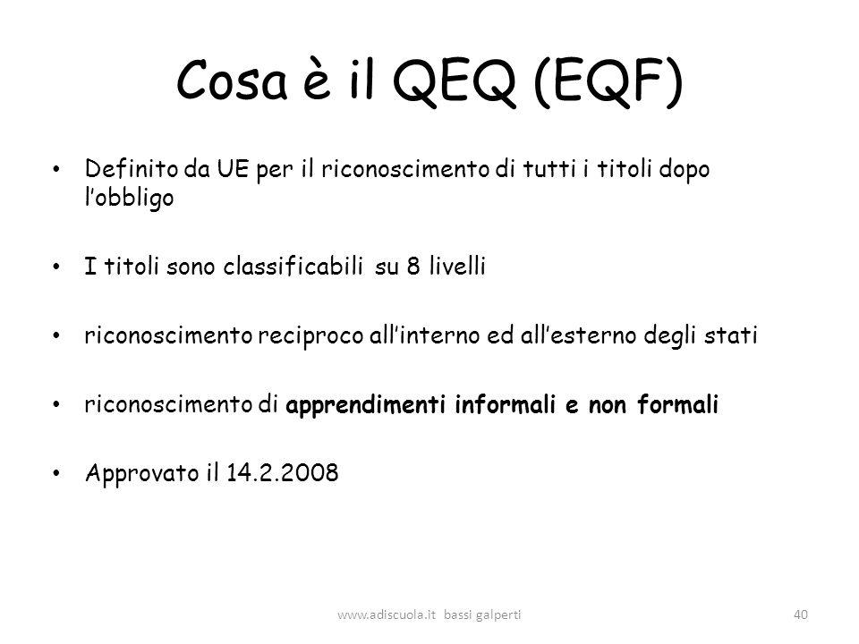 Cosa è il QEQ (EQF) Definito da UE per il riconoscimento di tutti i titoli dopo lobbligo I titoli sono classificabili su 8 livelli riconoscimento reciproco allinterno ed allesterno degli stati riconoscimento di apprendimenti informali e non formali Approvato il 14.2.2008 40www.adiscuola.it bassi galperti