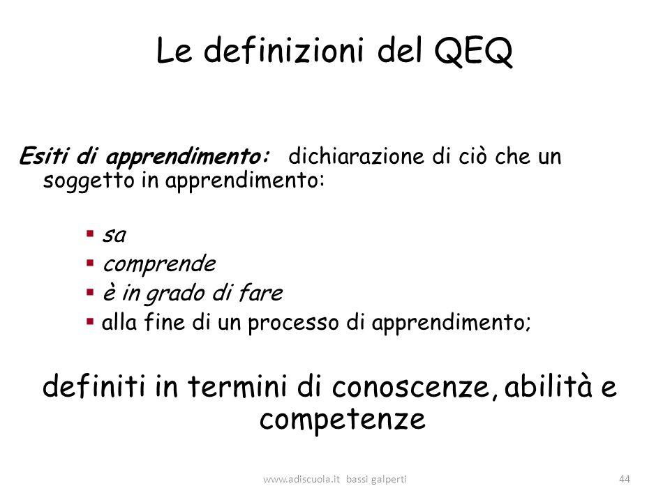 Le definizioni del QEQ Esiti di apprendimento: dichiarazione di ciò che un soggetto in apprendimento: sa comprende è in grado di fare alla fine di un processo di apprendimento; definiti in termini di conoscenze, abilità e competenze 44www.adiscuola.it bassi galperti