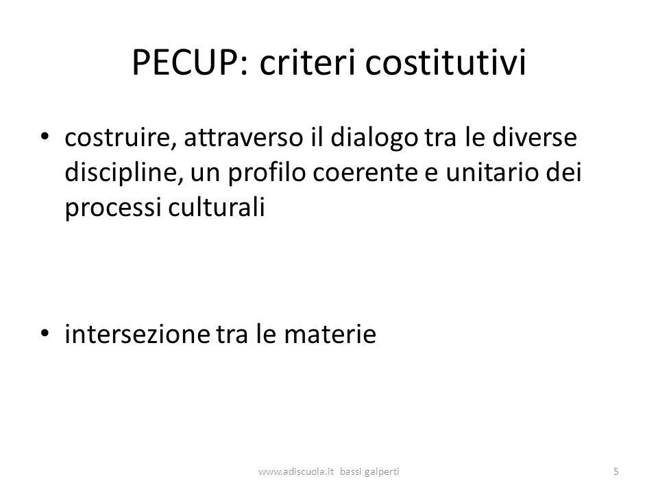 PECUP: criteri costitutivi costruire, attraverso il dialogo tra le diverse discipline, un profilo coerente e unitario dei processi culturali intersezione tra le materie 5www.adiscuola.it bassi galperti