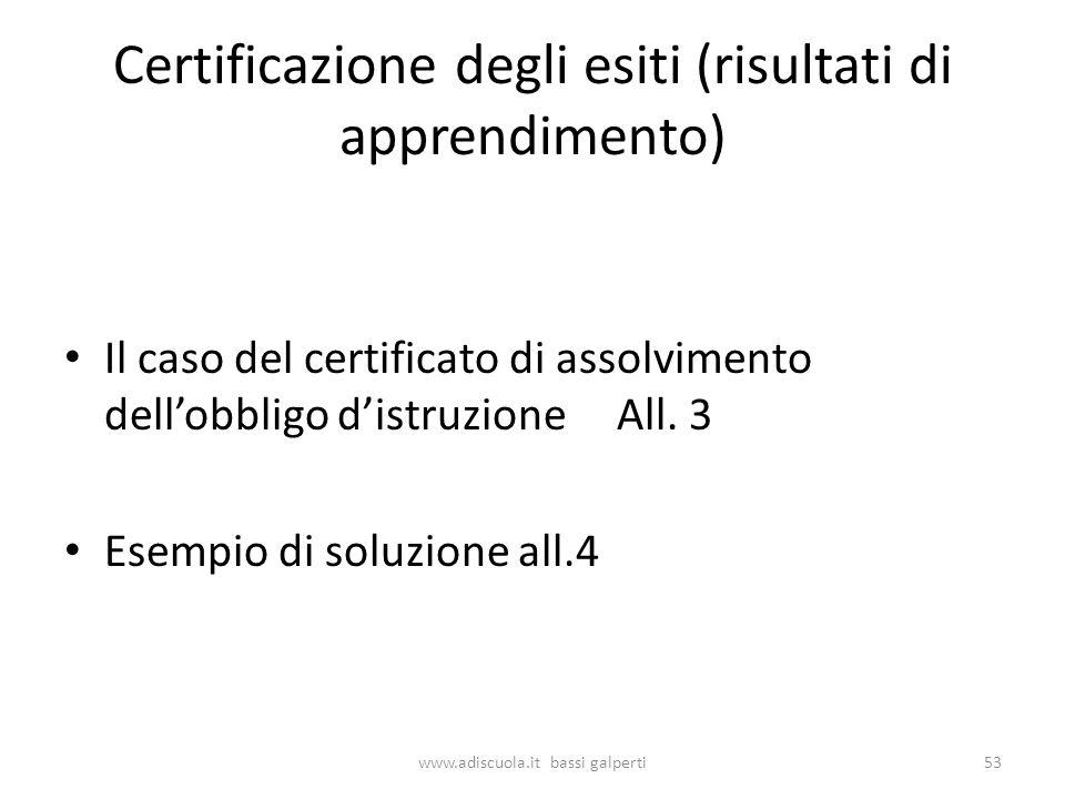 Certificazione degli esiti (risultati di apprendimento) Il caso del certificato di assolvimento dellobbligo distruzione All.