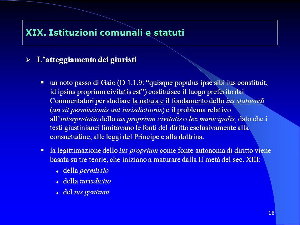 19 XIX.Istituzioni comunali e statuti 1.
