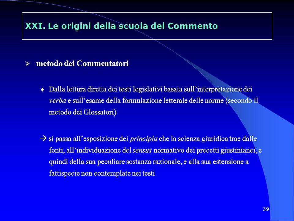40 XXII La scuola del Commento in Italia