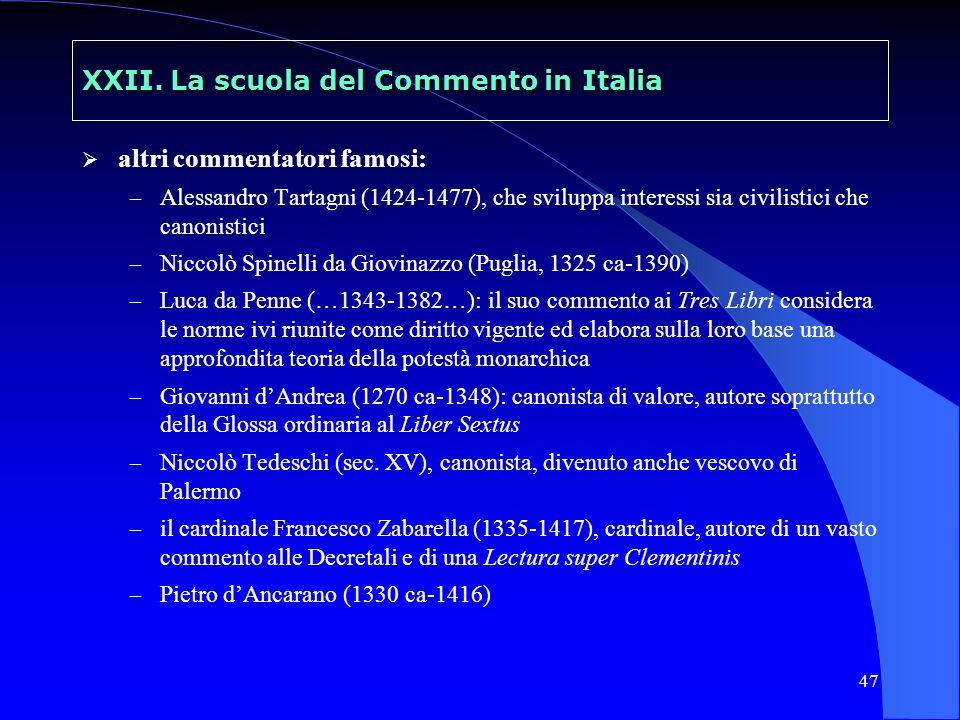 48 XXII.La scuola del Commento in Italia sec.