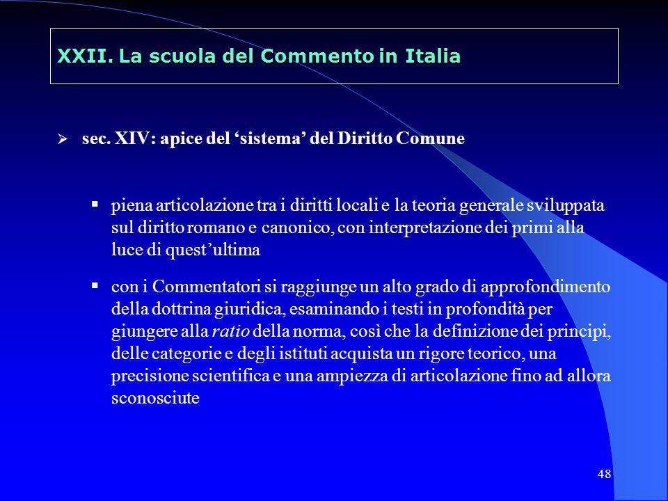 49 XXII.La scuola del Commento in Italia sec.