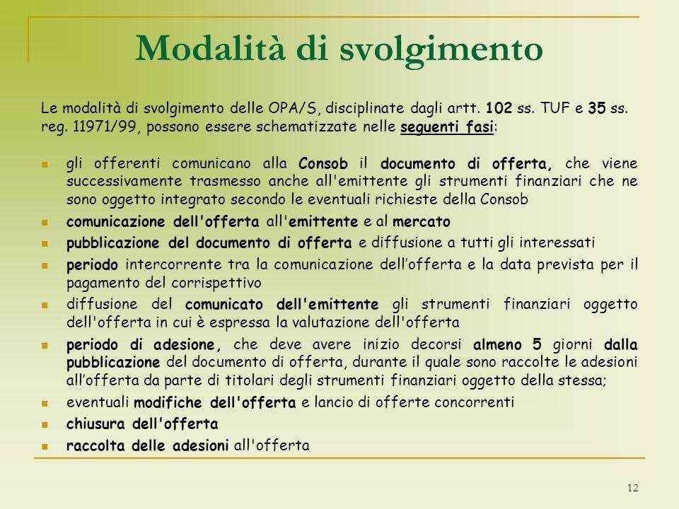 Modalità di svolgimento Le modalità di svolgimento delle OPA/S, disciplinate dagli artt. 102 ss. TUF e 35 ss. reg. 11971/99, possono essere schematizz