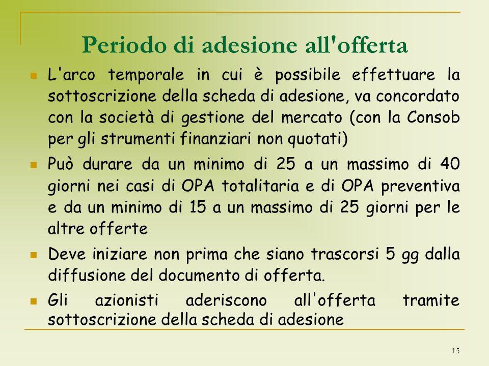 15 Periodo di adesione all'offerta L'arco temporale in cui è possibile effettuare la sottoscrizione della scheda di adesione, va concordato con la soc