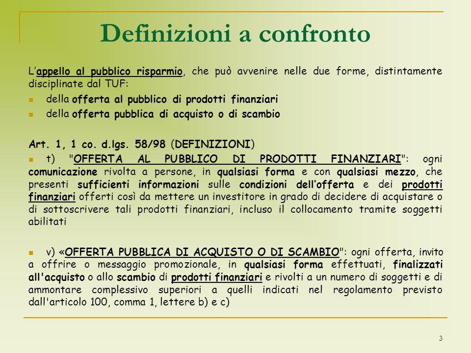 Definizioni a confronto Lappello al pubblico risparmio, che può avvenire nelle due forme, distintamente disciplinate dal TUF: della offerta al pubblic