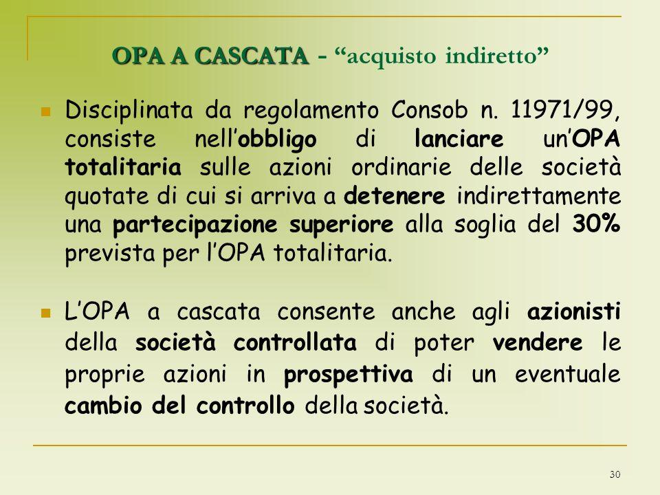 30 OPA A CASCATA OPA A CASCATA - acquisto indiretto Disciplinata da regolamento Consob n. 11971/99, consiste nellobbligo di lanciare unOPA totalitaria