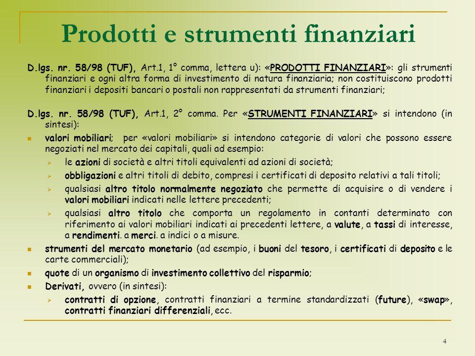 Prodotti e strumenti finanziari D.lgs. nr. 58/98 (TUF), Art.1, 1° comma, lettera u): «PRODOTTI FINANZIARI»: gli strumenti finanziari e ogni altra form