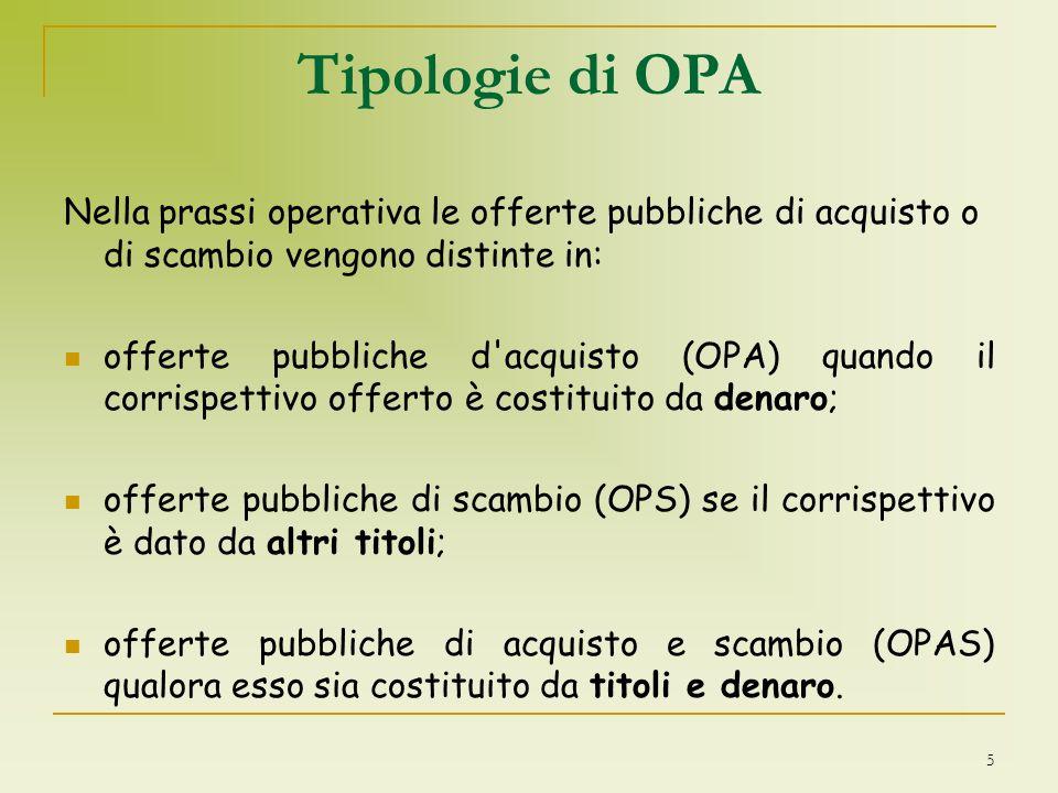 Tipologie di OPA Nella prassi operativa le offerte pubbliche di acquisto o di scambio vengono distinte in: offerte pubbliche d'acquisto (OPA) quando i