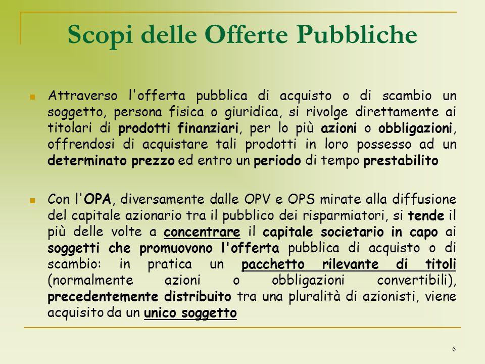 27 OFFERTE PUBBLICHE DI ACQUISTO OBBLIGATORIE Lo scopo delle OPA è per lo più quello di conseguire il controllo della società i cui titoli costituiscono l oggetto dell offerta.