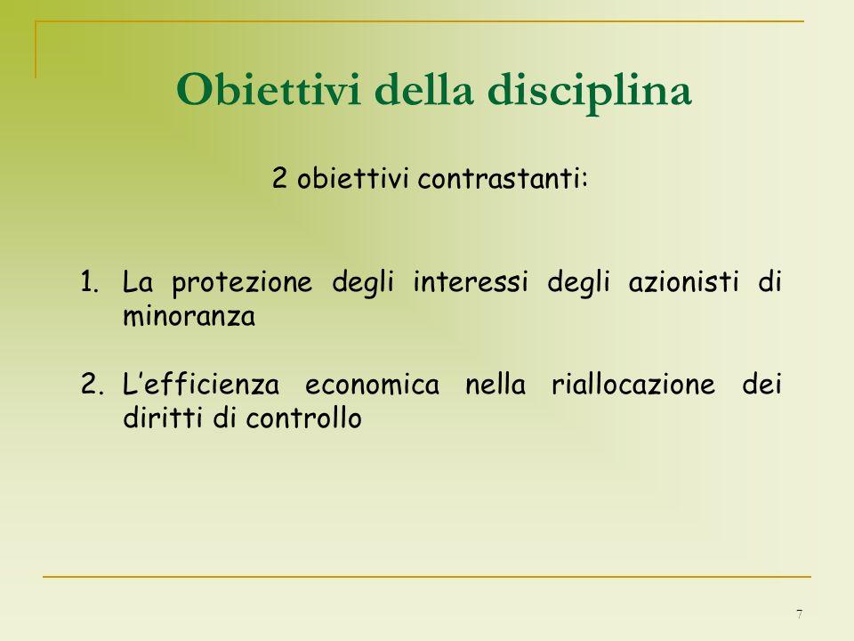 7 Obiettivi della disciplina 2 obiettivi contrastanti: 1.La protezione degli interessi degli azionisti di minoranza 2.Lefficienza economica nella rial