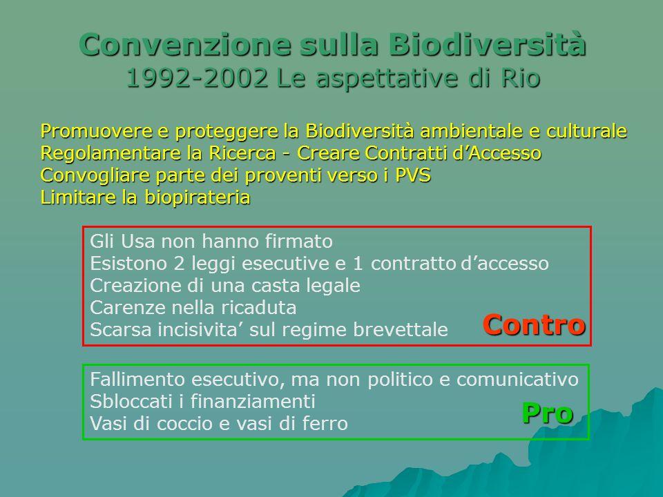 Promuovere e proteggere la Biodiversità ambientale e culturale Regolamentare la Ricerca - Creare Contratti dAccesso Convogliare parte dei proventi ver