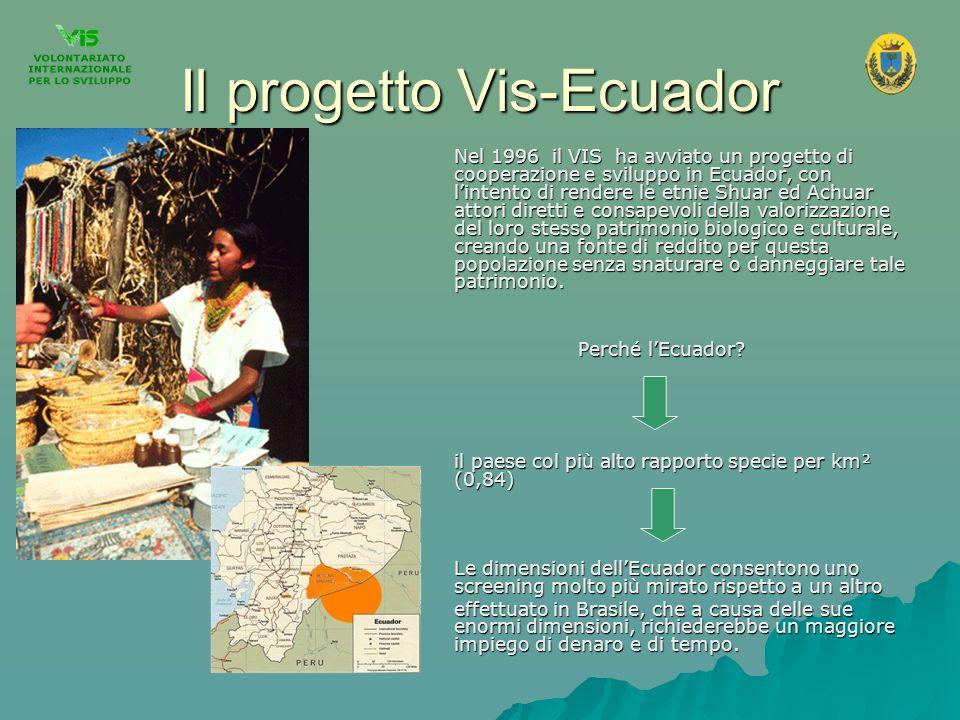 Il progetto Vis-Ecuador Nel 1996 il VIS ha avviato un progetto di cooperazione e sviluppo in Ecuador, con lintento di rendere le etnie Shuar ed Achuar