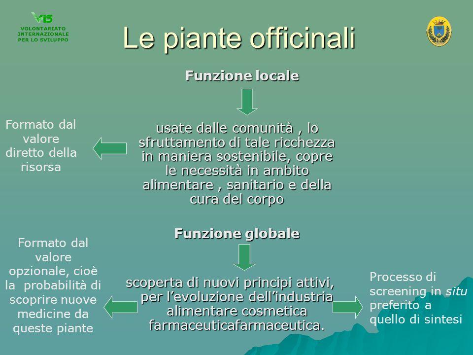 Le piante officinali Funzione locale Funzione locale usate dalle comunità, lo sfruttamento di tale ricchezza in maniera sostenibile, copre le necessit