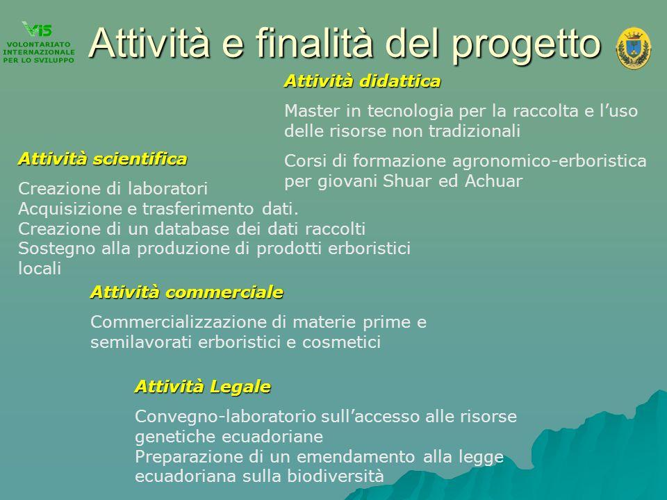 Attività e finalità del progetto Attività scientifica Creazione di laboratori Acquisizione e trasferimento dati. Creazione di un database dei dati rac