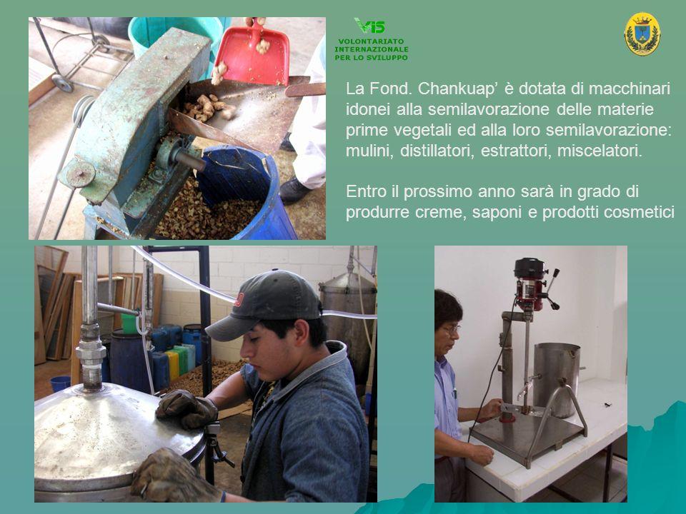 La Fond. Chankuap è dotata di macchinari idonei alla semilavorazione delle materie prime vegetali ed alla loro semilavorazione: mulini, distillatori,