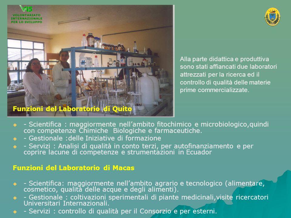 Alla parte didattica e produttiva sono stati affiancati due laboratori attrezzati per la ricerca ed il controllo di qualità delle materie prime commer