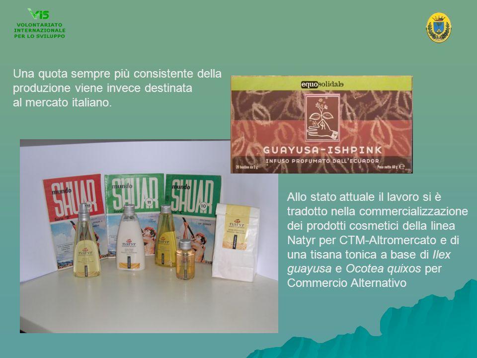 Allo stato attuale il lavoro si è tradotto nella commercializzazione dei prodotti cosmetici della linea Natyr per CTM-Altromercato e di una tisana ton