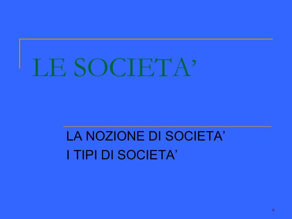 6 LE SOCIETA LA NOZIONE DI SOCIETA I TIPI DI SOCIETA