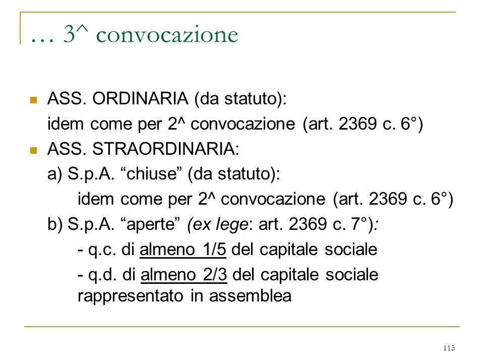 113 … 3^ convocazione ASS.ORDINARIA (da statuto): idem come per 2^ convocazione (art.
