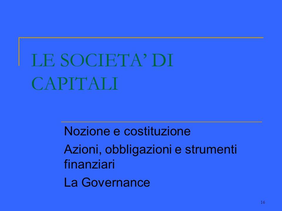 16 LE SOCIETA DI CAPITALI Nozione e costituzione Azioni, obbligazioni e strumenti finanziari La Governance