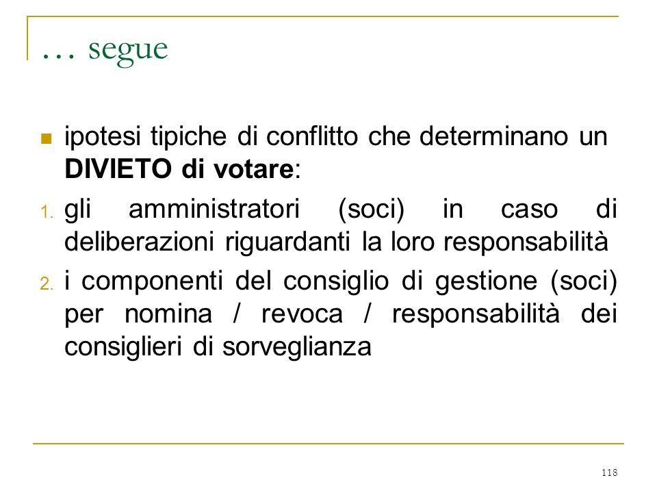 118 … segue ipotesi tipiche di conflitto che determinano un DIVIETO di votare: 1.