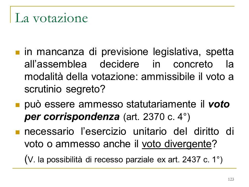 123 La votazione in mancanza di previsione legislativa, spetta allassemblea decidere in concreto la modalità della votazione: ammissibile il voto a scrutinio segreto.
