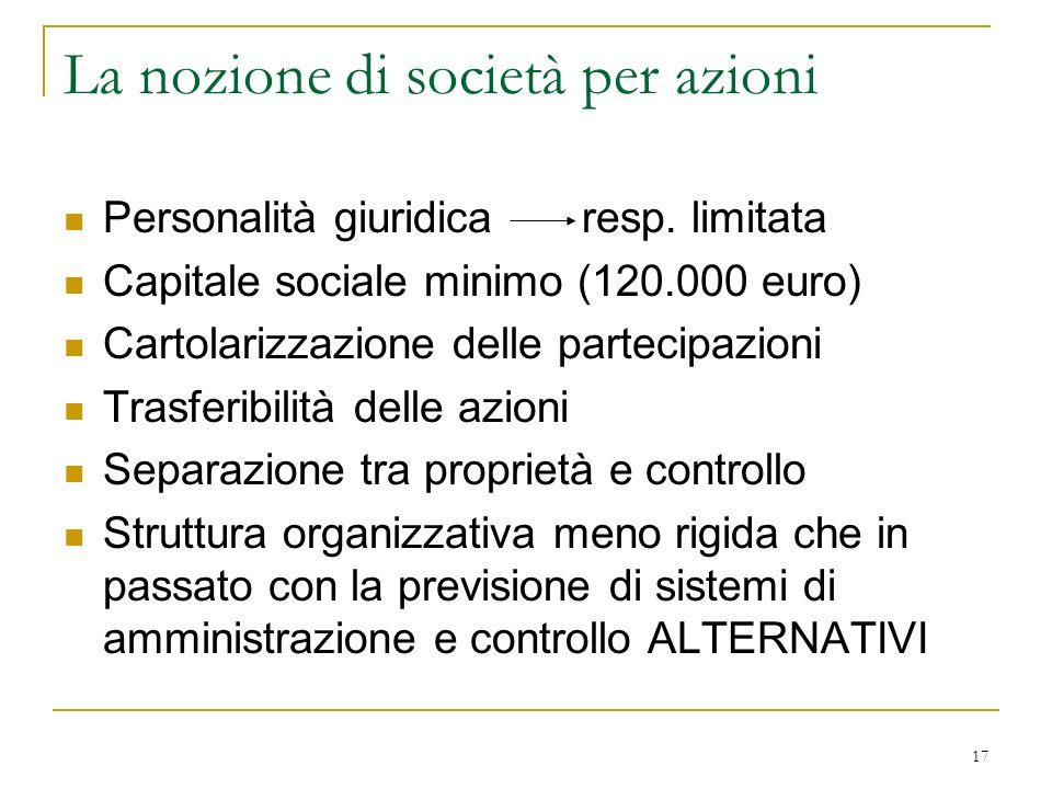 17 La nozione di società per azioni Personalità giuridica resp.