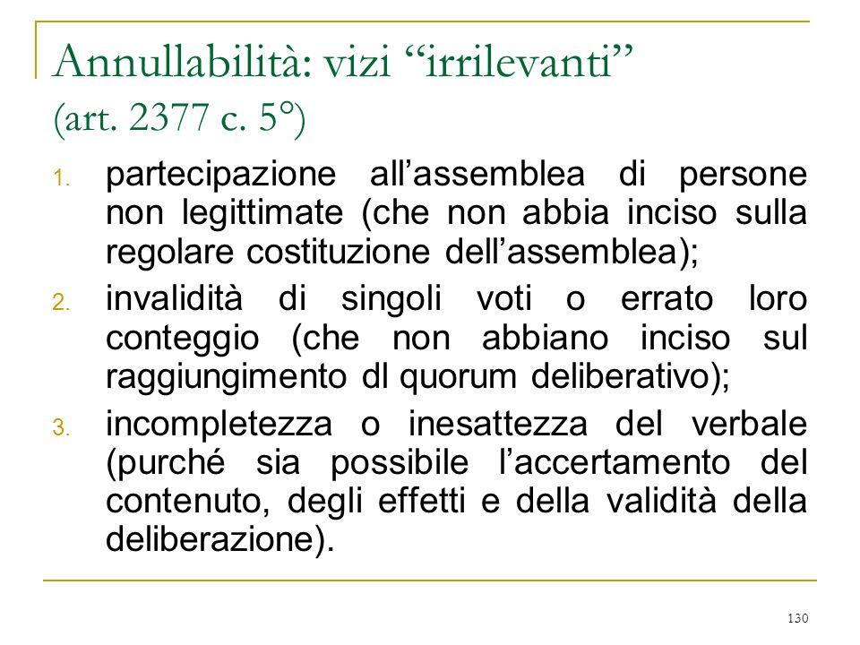 130 Annullabilità: vizi irrilevanti (art.2377 c. 5°) 1.