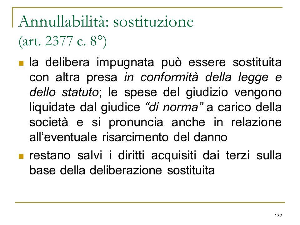 132 Annullabilità: sostituzione (art.2377 c.