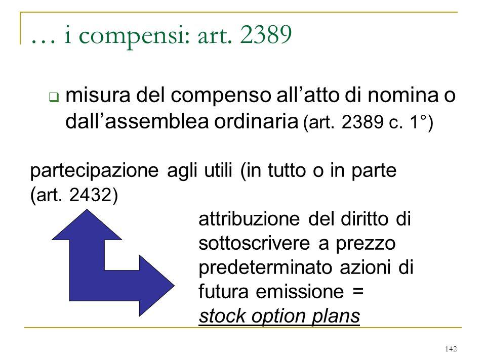 142 … i compensi: art.2389 misura del compenso allatto di nomina o dallassemblea ordinaria (art.