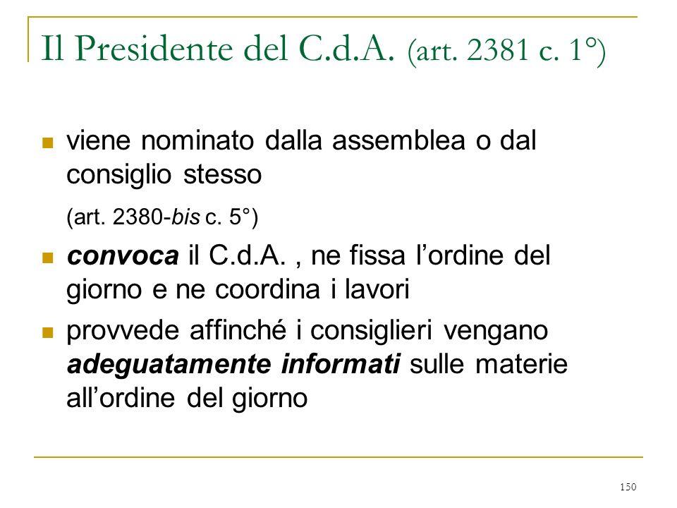 150 Il Presidente del C.d.A.(art. 2381 c.