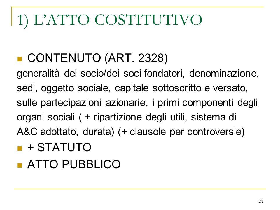 21 1) LATTO COSTITUTIVO CONTENUTO (ART.
