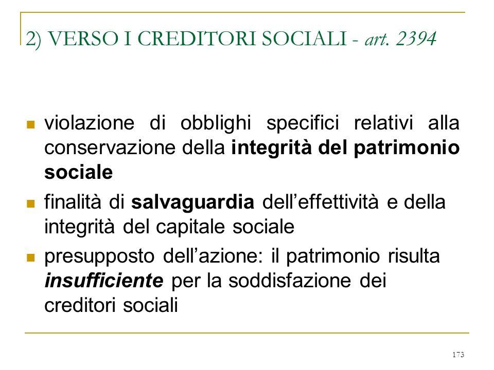 173 2) VERSO I CREDITORI SOCIALI - art.