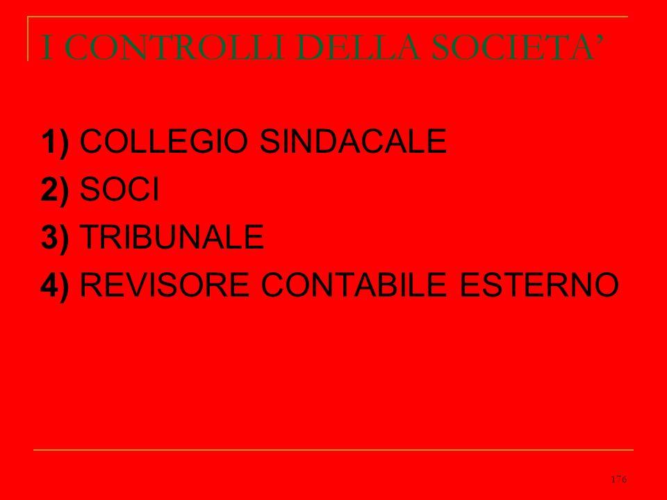 176 I CONTROLLI DELLA SOCIETA 1) COLLEGIO SINDACALE 2) SOCI 3) TRIBUNALE 4) REVISORE CONTABILE ESTERNO