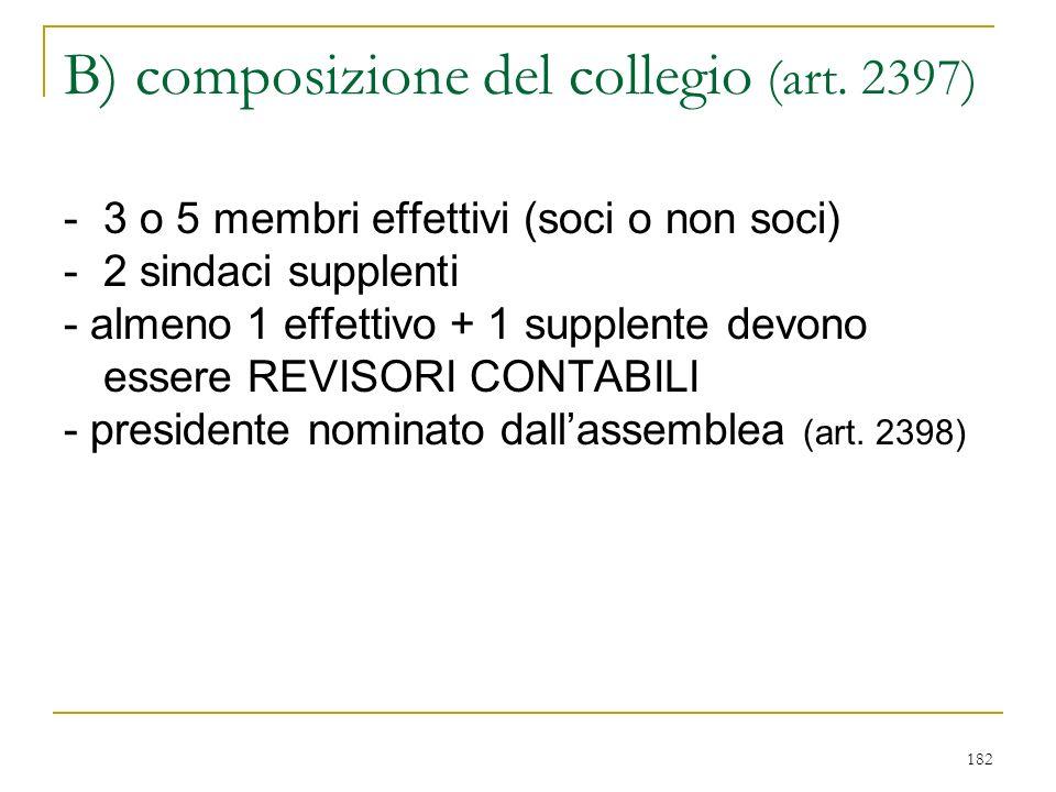 182 B) composizione del collegio (art.