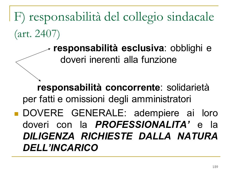 189 F) responsabilità del collegio sindacale (art.