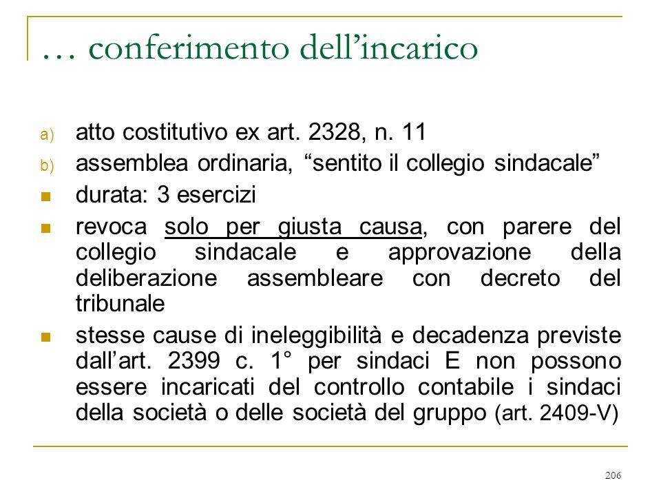 206 … conferimento dellincarico a) atto costitutivo ex art.