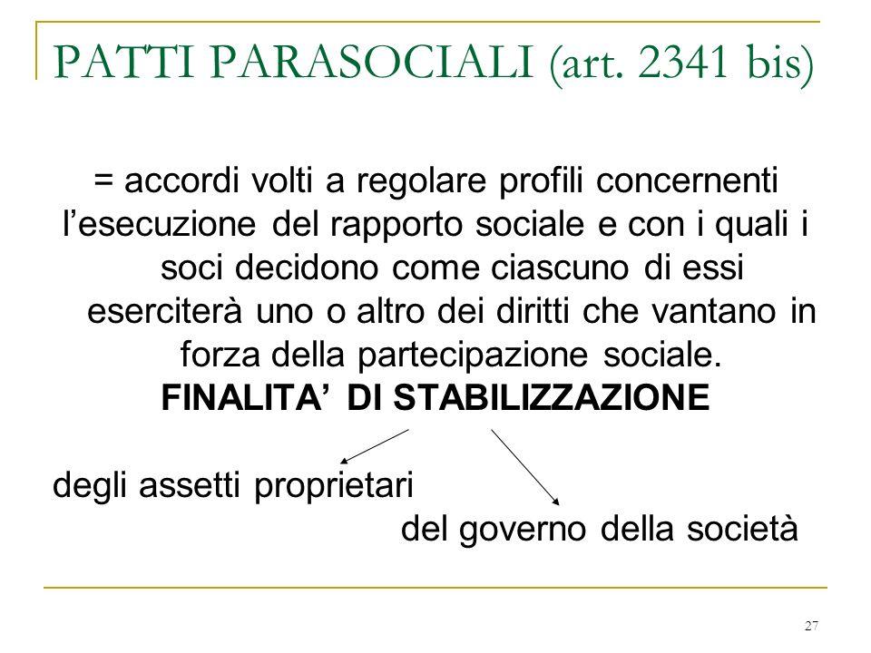 27 PATTI PARASOCIALI (art.
