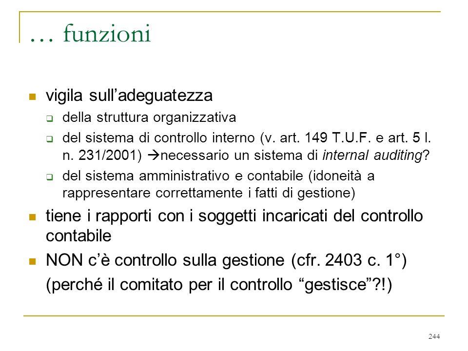 244 … funzioni vigila sulladeguatezza della struttura organizzativa del sistema di controllo interno (v.