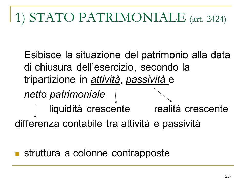257 1) STATO PATRIMONIALE (art.