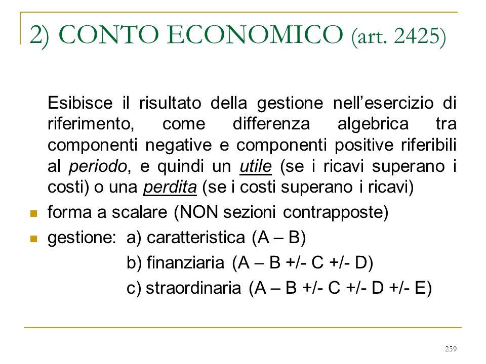 259 2) CONTO ECONOMICO (art.