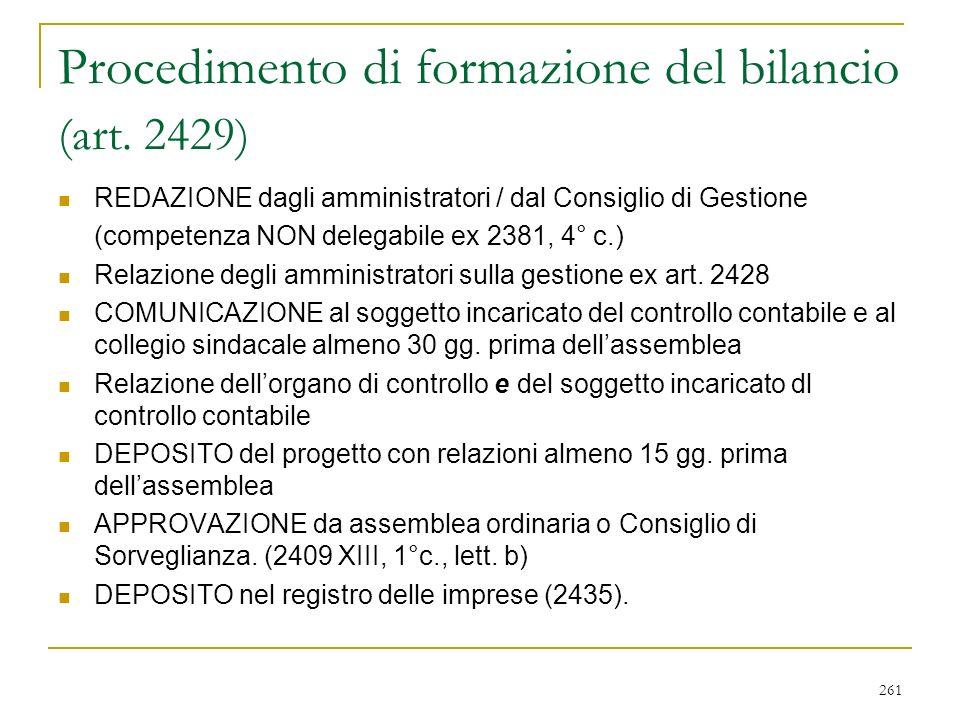 261 Procedimento di formazione del bilancio (art.