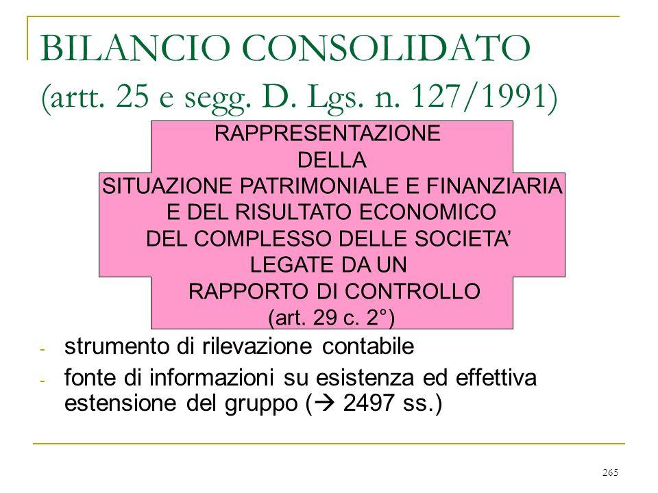 265 BILANCIO CONSOLIDATO (artt.25 e segg. D. Lgs.