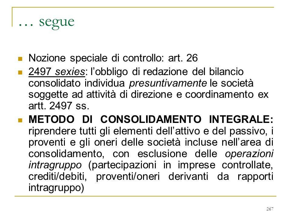 267 … segue Nozione speciale di controllo: art.