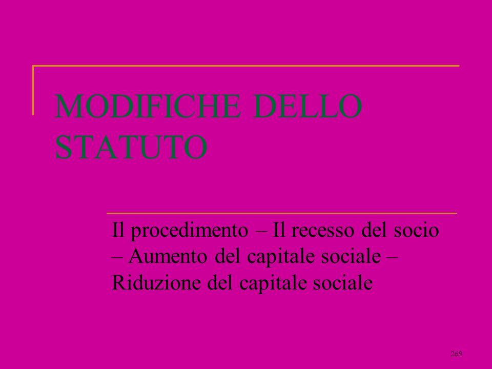 269 MODIFICHE DELLO STATUTO Il procedimento – Il recesso del socio – Aumento del capitale sociale – Riduzione del capitale sociale