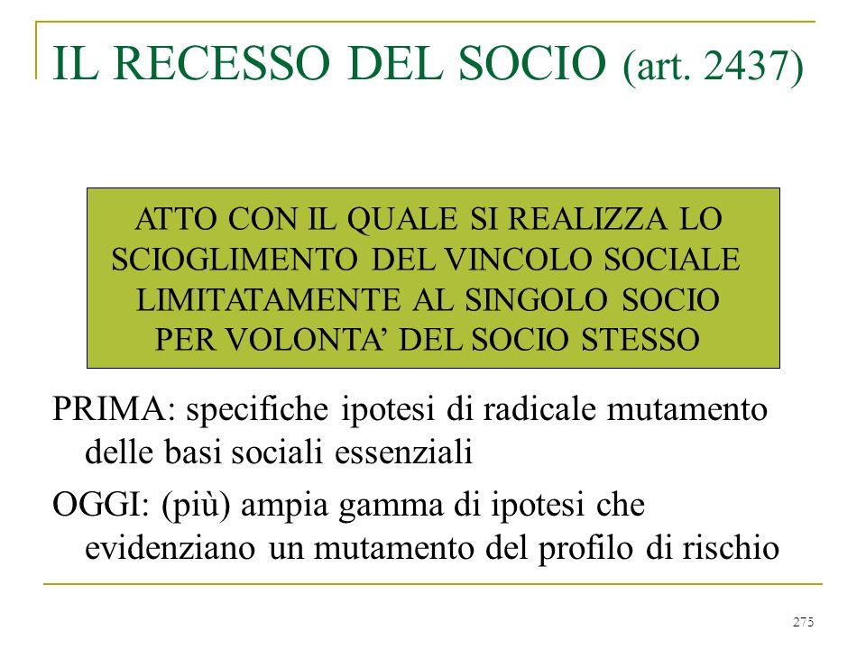 275 IL RECESSO DEL SOCIO (art.